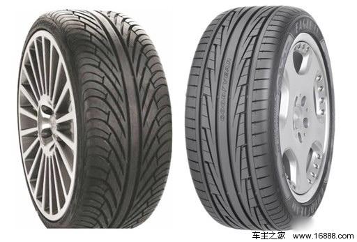 轮胎的花纹形式 轮胎胎冠的花纹很大程度上决定了轮胎的用途。不同形式的花纹决定了轮胎不同行驶条件下的性能。轮胎花纹的作用不外乎以下几点:排干轮胎与地面接触的积水、良好的纵向抓地力、良好地横向抓地力、非铺装道路的抓地能力。根据不同的用途,轮胎的花纹形式大致分为: 单导向花纹 单导向花纹即轮胎花纹的方向是以对称指向车轮向前滚动方向布置的。具有较多且较深的轮胎花纹沟,在行驶时能将地面的积水通过花纹沟排到胎面之外,从而保证良好的湿地行驶及制动性能。这种轮胎花纹形式被大多数家用车所选用。  块状花纹 块状花纹轮胎的胎